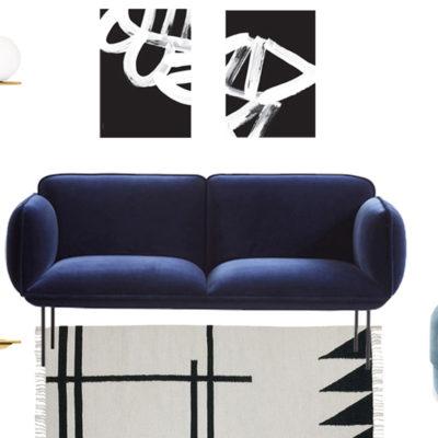 A blue velvet sofa