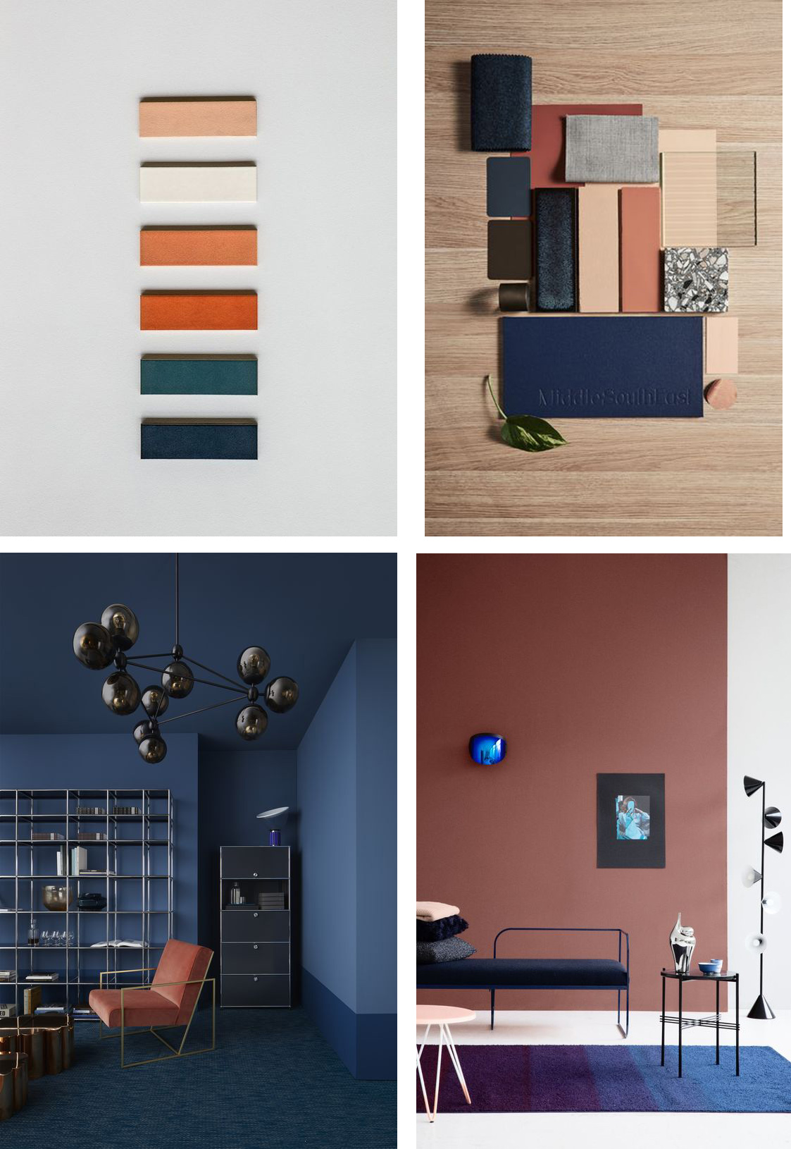 terracotta and blue in interiors