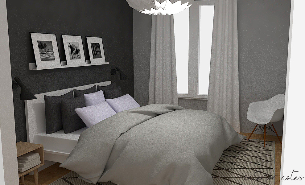 Render of a bedroom with scandinavian style