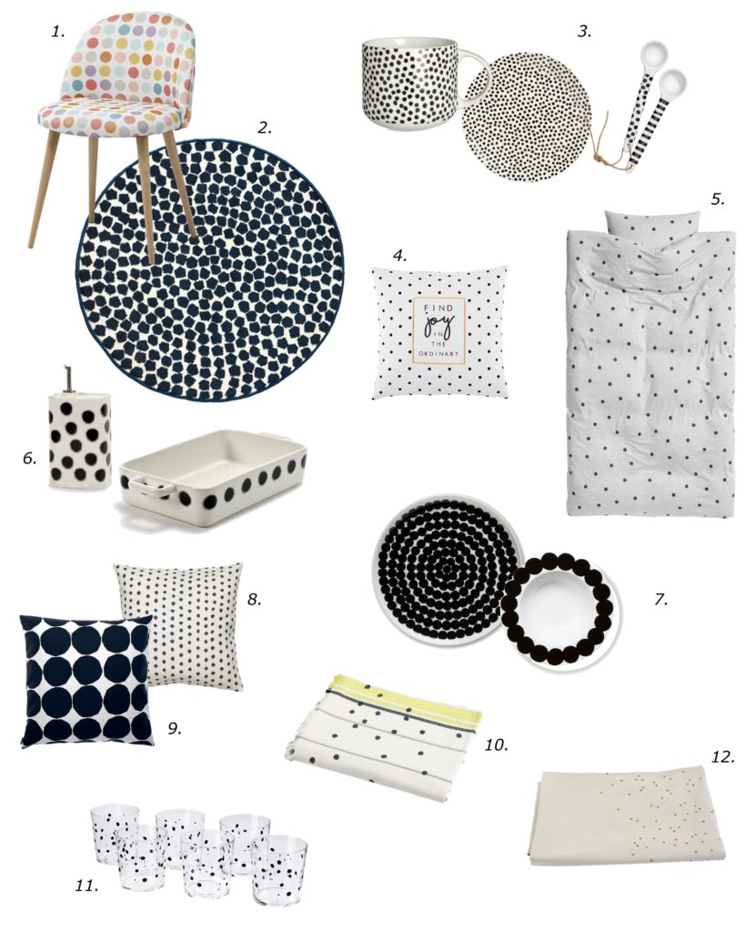 shopping list selection poka dots