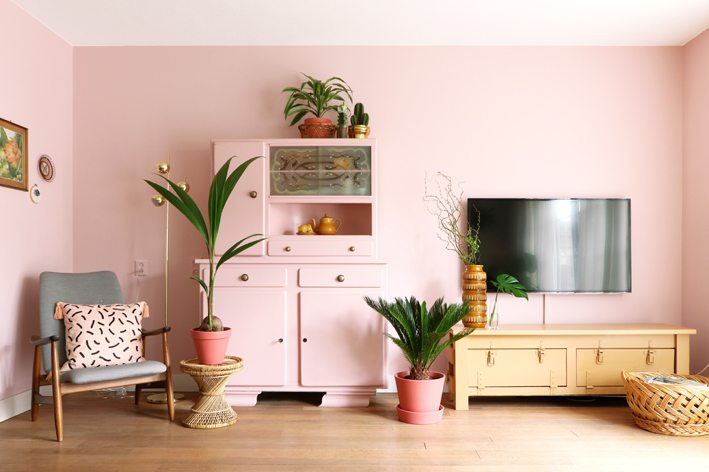 pink wall and pink furniture