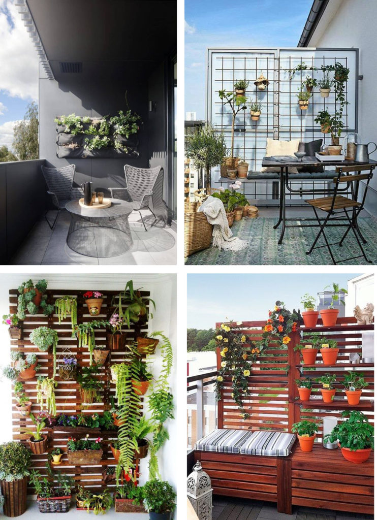 small balcony green wall