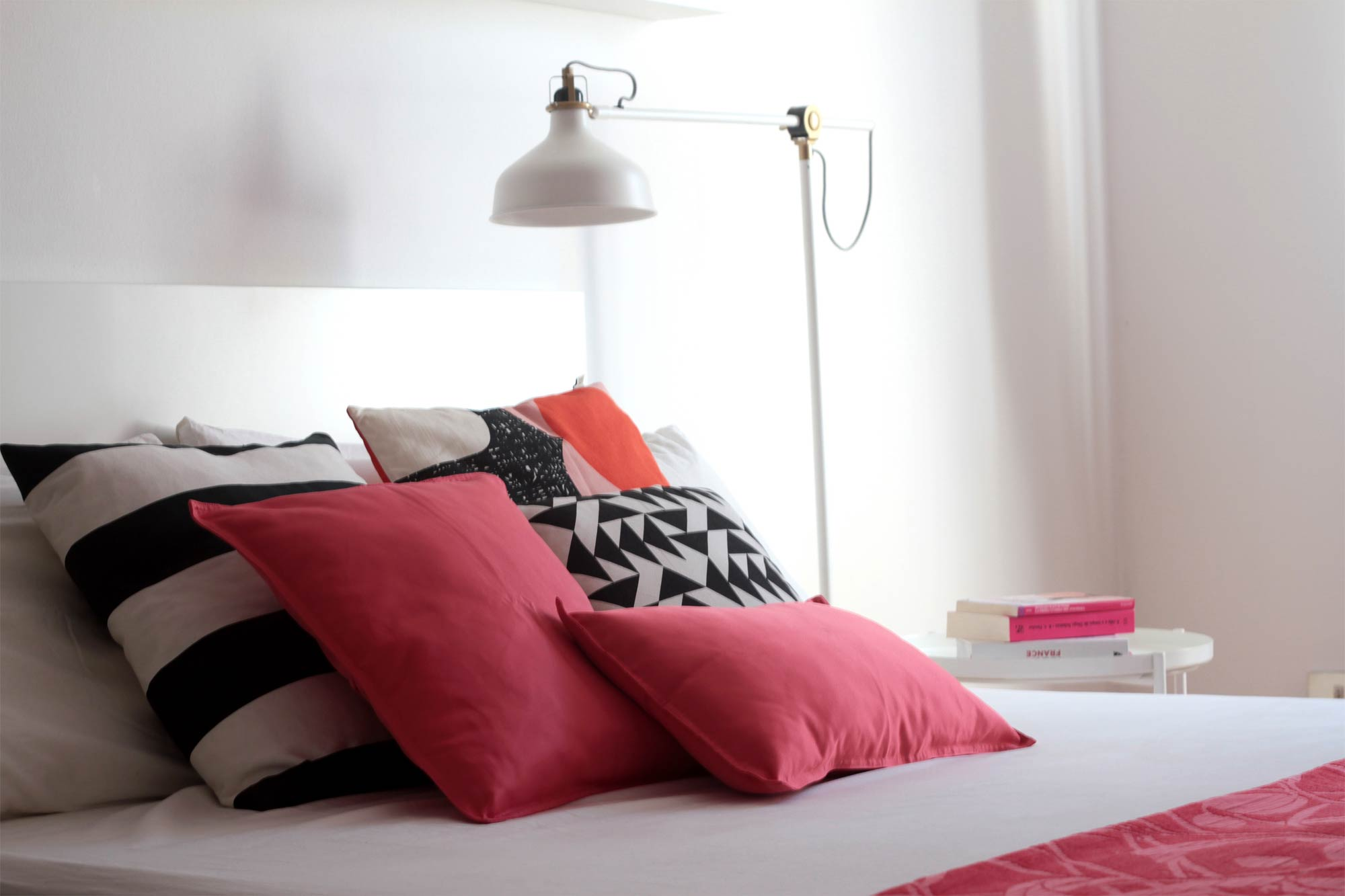 Bedroom styling with Living Coral