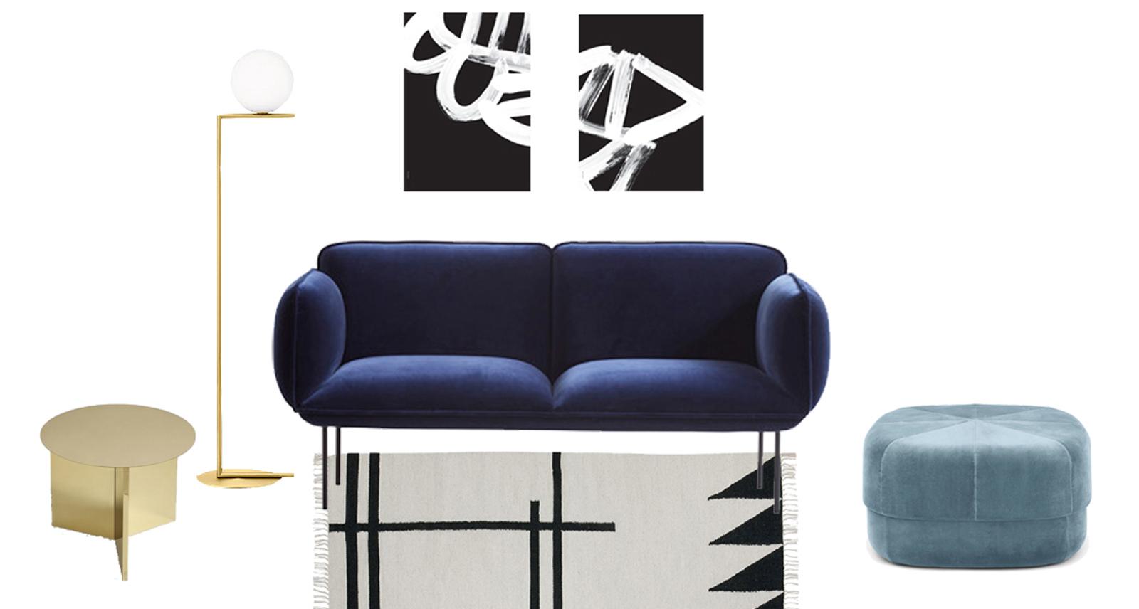 Un sof de terciopelo azul interior notes - Sofa terciopelo azul ...